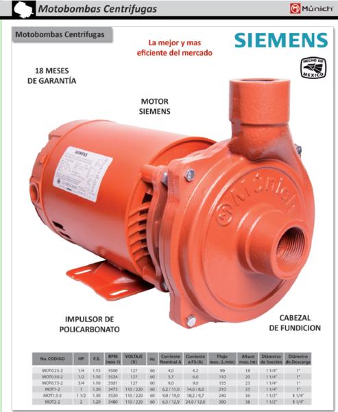 Bomba Centrifuga Munich a 110V marca Siemens